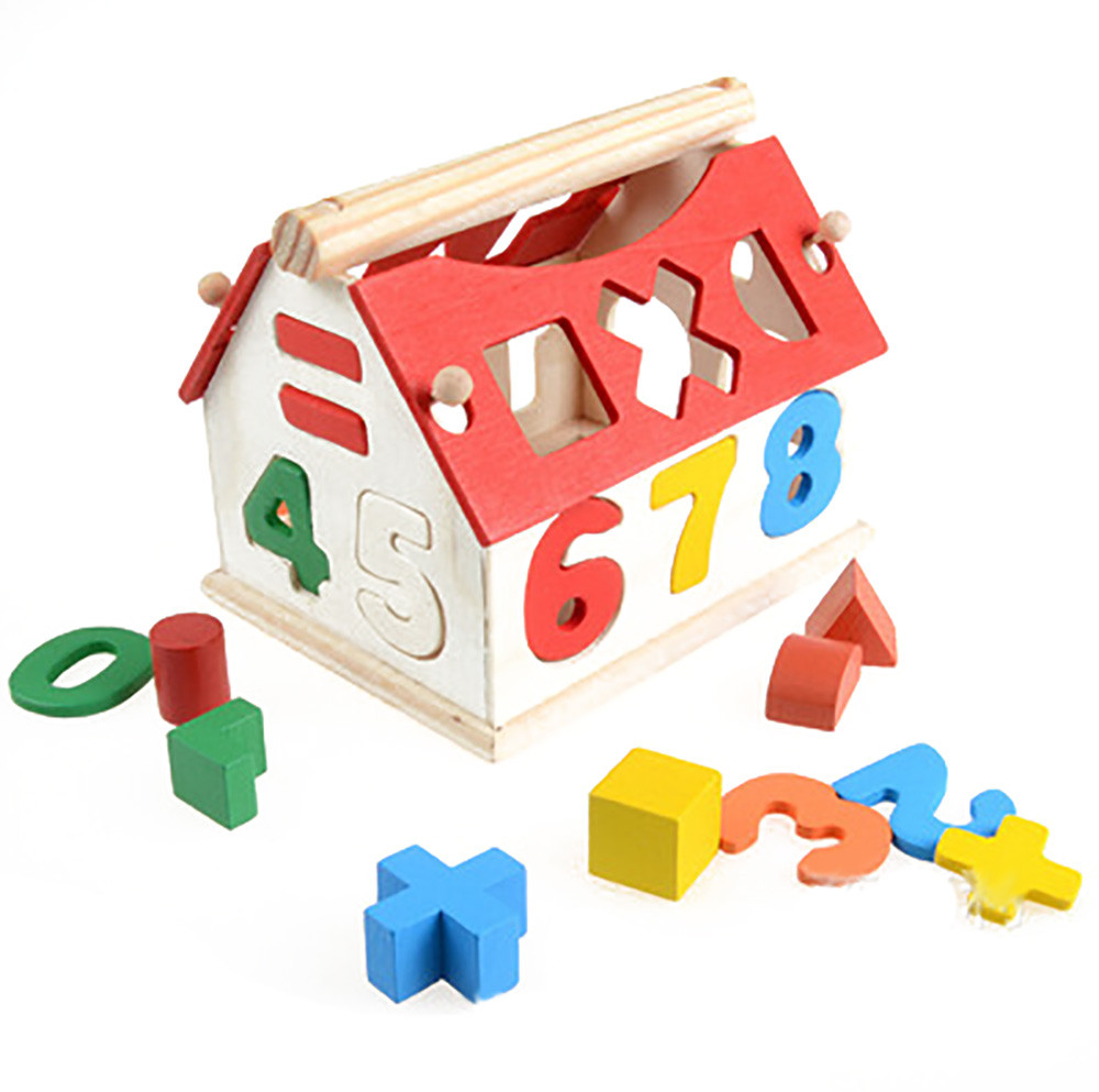 Model Building Romantic Children Education Toys Multifunction Wooden Building Puzzle Games Six-sided Shape Cognitive Drums Early Learning