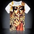 Мода 2016 Лето Мужская Новый Роскошный 3D Египет Королева Королей печать Футболки Уличной Хип-Хоп футболка homme Повседневная Tee Топы Z2