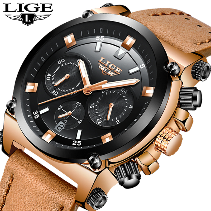 LIGE Top Luxury Brand Men's Sport Quartz Watch Brown Leather Men Watches Dress Business Casual Fashion Big Dial Black Male Clock men watch top luxury brand lige men s quartz watches fashion casual mesh belt dress business military male clock reloj hombre