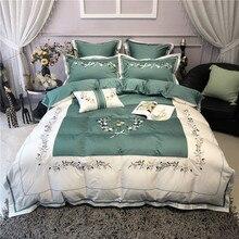 цена на New Luxury Flowers Embroidery 60S Egyptian Cotton Green White Bedding Set Duvet Cover Bed sheet Bed Linen Pillowcases 4/7pcs