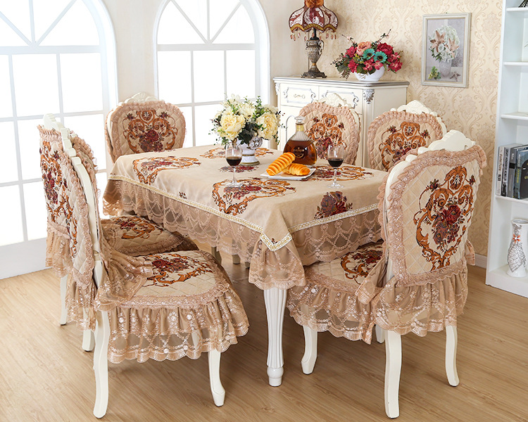 European Luxury Style Lace Floral Jacquard Tablecloth Set Suit 130180cm Table Cloth Matching Chair
