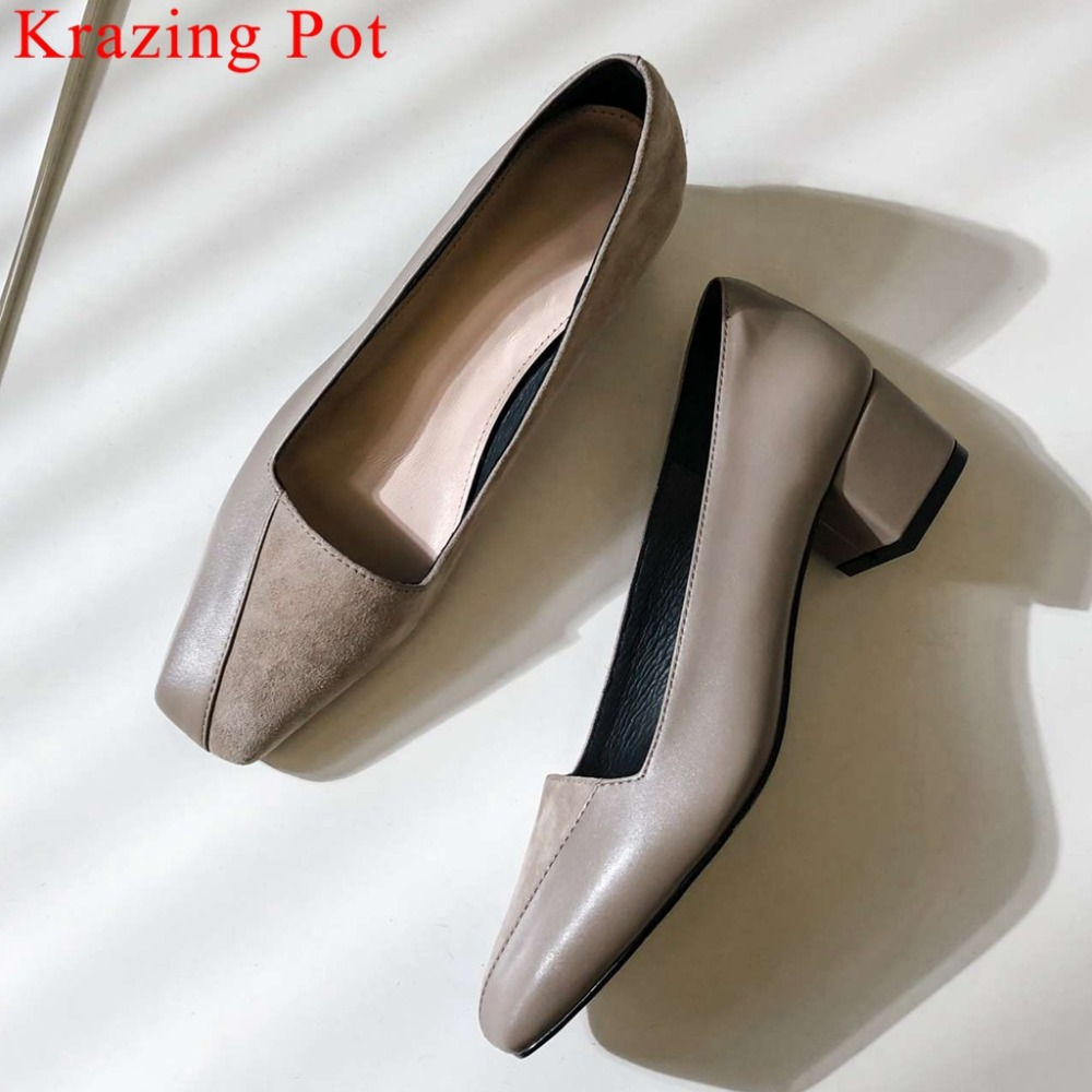 Krazing Pot Superstar Natural Leather Chunky Med Heels Elegant Lady Slip On Woman Pumps Shallow Brand Square Toe Dancer Shoe L68