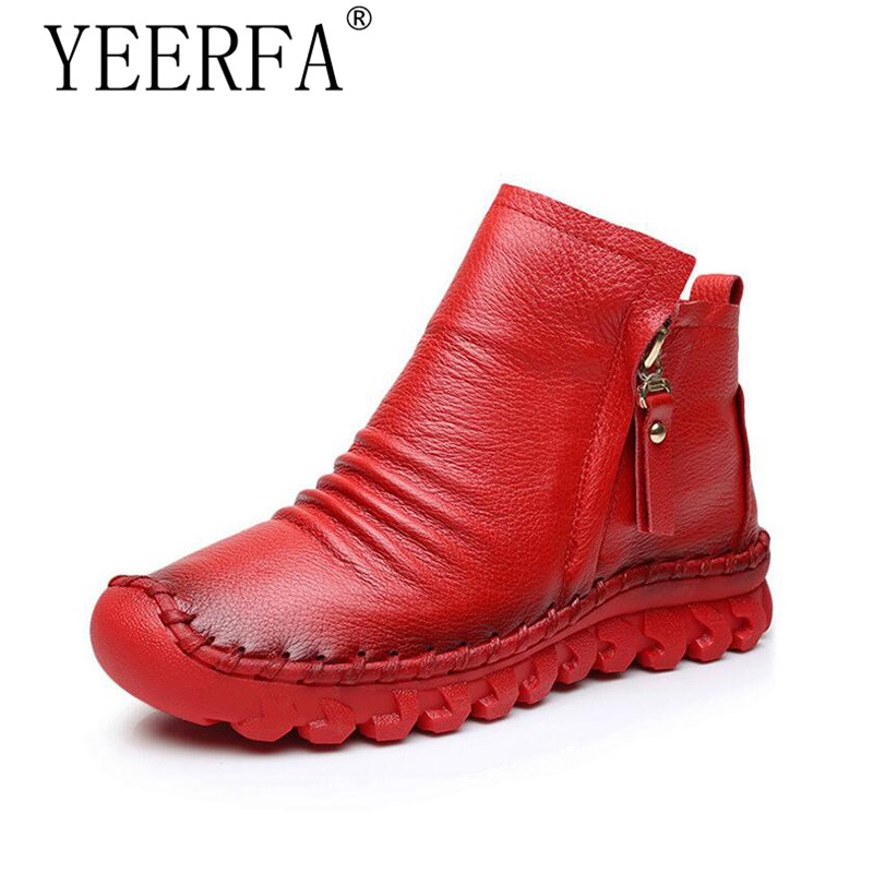 YIERFA 2017 Women Fashion Vintage Handmade Genuine Leather Shoes Female Autumn winter Platform Ankle Boots Woman Casual Boots women ankle boots handmade genuine leather woman boots autumn winter round toe soft comfotable retro boot shoes female footwear