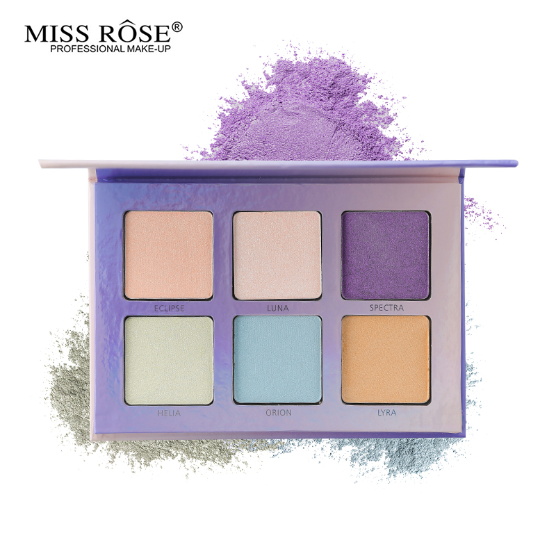 Miss Rose Aurora Glow Kit 6 Color Highlighter Makeup Palette Face Contour Rainbow Highlight Soft Powder Cream Illuminate Bronzer makeup base color corrector contour cream concealer palette