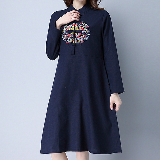 f0c76cfeca KYMAKUTU Chinese Style Embroidery Dresses Stand Collar Plate Button Robe  Femme 2017 Cotton Linen Dress Autumn Casual Vestidos