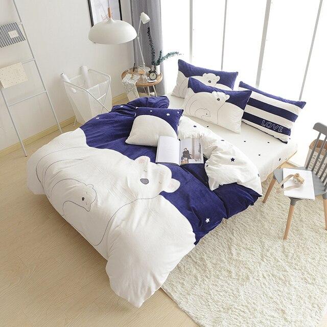 4 6pcs Cute Polar Bear Bedding Set Winter Warm Bed Cover Sheet Pillowcase Thick Fleece Fabric Comforter Sets