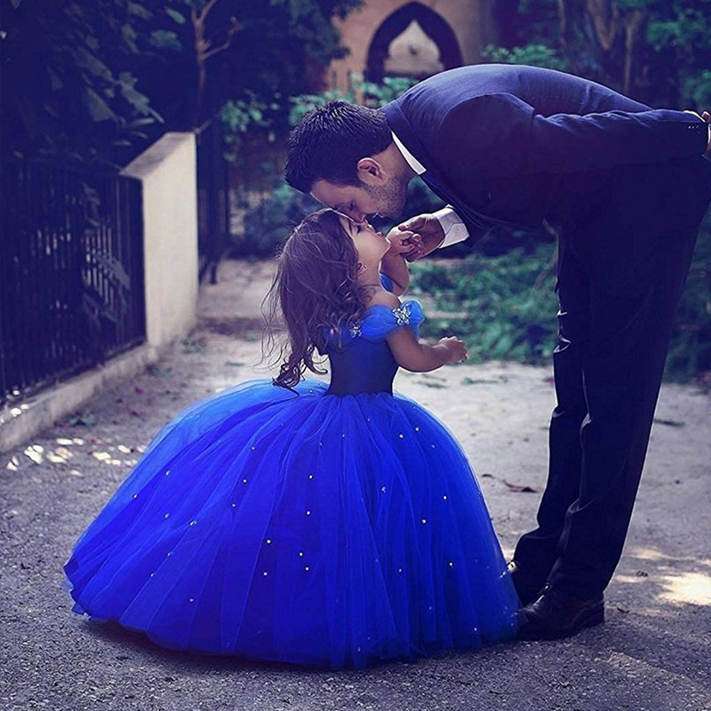 Children's Flower Shoulderless Dress Drill All Over Ground Cinderella's Ball Gown Princess Party Dresses for Kids Girls GDR442