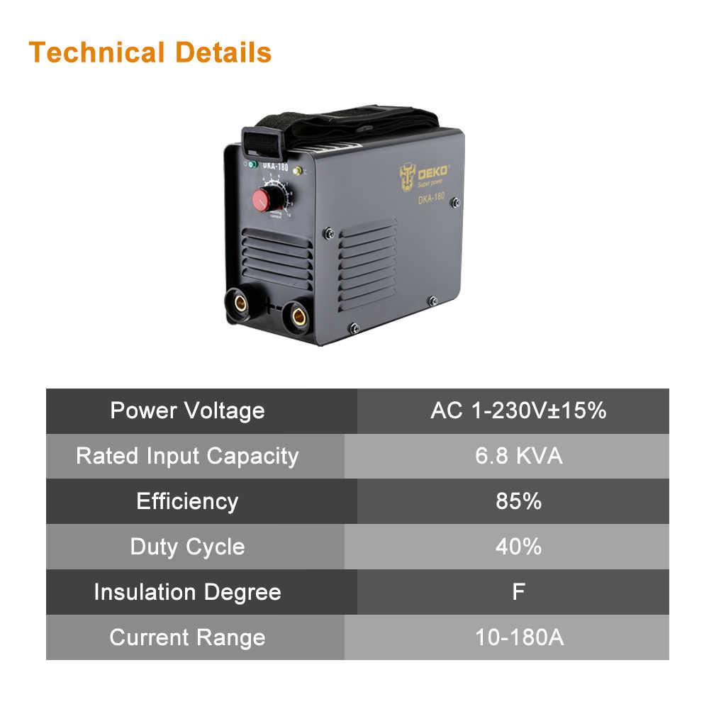 DEKO DKA-180Y 180A 6.8KVA IP21S อินเวอร์เตอร์ Arc ไฟฟ้าเครื่องเชื่อม MMA สำหรับเชื่อมทำงานและไฟฟ้าทำงาน
