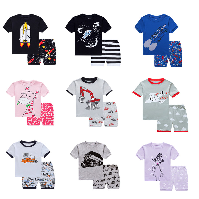 LLUCKYGOOBO Summer kids   Pajamas     Set   Children Short Sleeve cotton sleepwear Boys Cartoon pyjamas girls home clothing nightwear