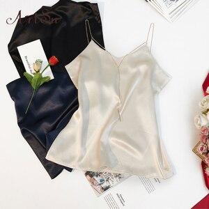 Image 3 - ArtSu yaz zincir kayışı en moda kolsuz plaj siyah beyaz saten üst seksi elbise kaşkorse spor üst Mujer ASVE20220