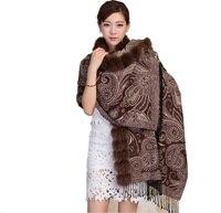 Для женщин Soft 100% шелкопряда шелк и натуральным лисьим мехом воротником обе стороны могут носить мыс теплый шарф коричневый