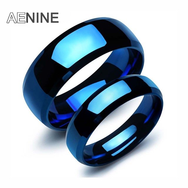 AENINE Lovers' 316L Stainless Steel Blue Color Couple Ring Jewelry For Women Men