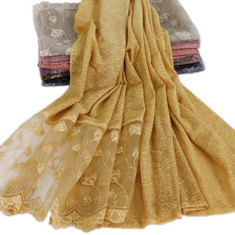 Women s lace hijab scarf plain cotton stretchy wraps shawls muslim scarves plain headband wraps islamic