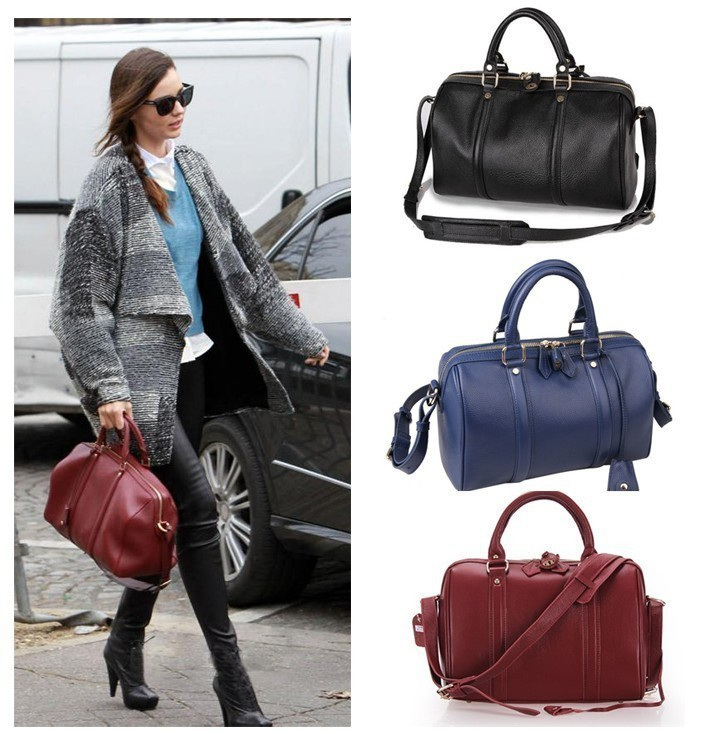 Women S Vintage Celebrity Leather Boston Bowling Bowler Top Handle Sling Bag Handbag In Shoulder Bags From Luggage On Aliexpress Alibaba Group