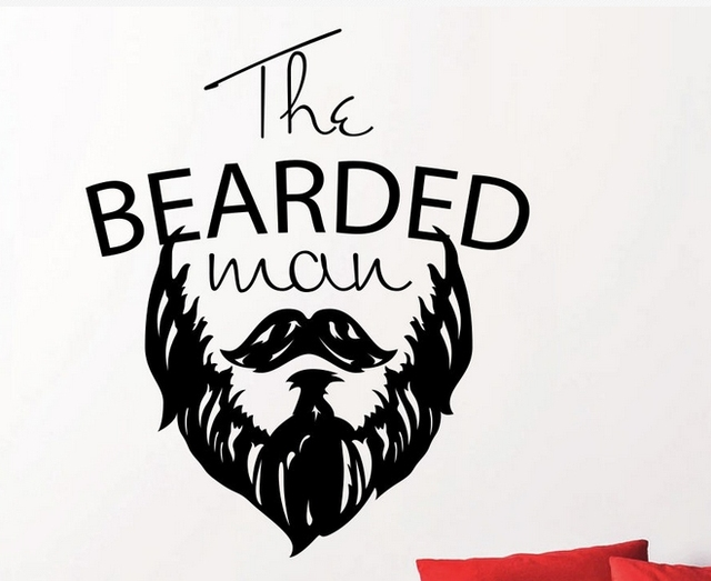 Barber shop wall art decal quote the bearded man mustache barber shop mural wall sticker hair