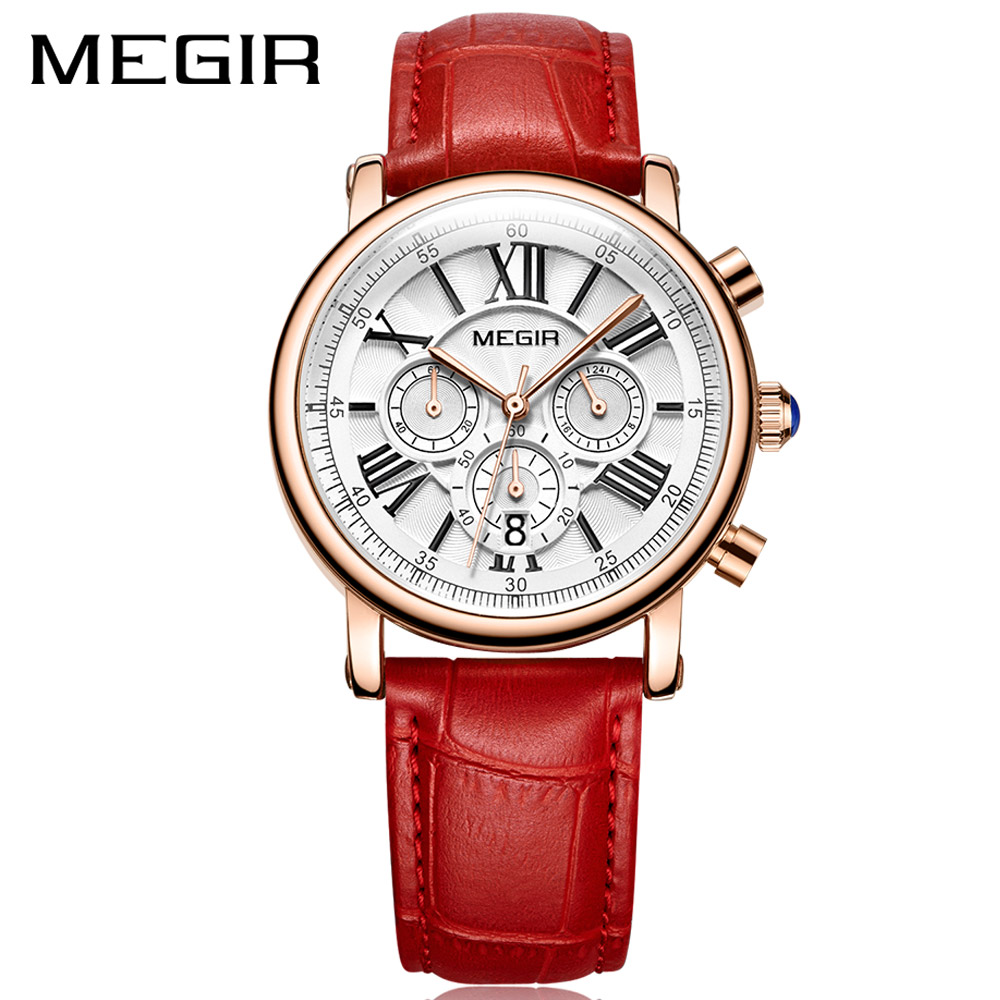 MEGIR Fashion Women Bracelet Watches Top Brand Luxury Ladies Quartz Watch Clock for Lovers Relogio Feminino Sport Wristwatches duoya 2017 fashion ladies watches women luxury leaf fabric gold wrist for women bracelet vintage sport clock watch christmas gif