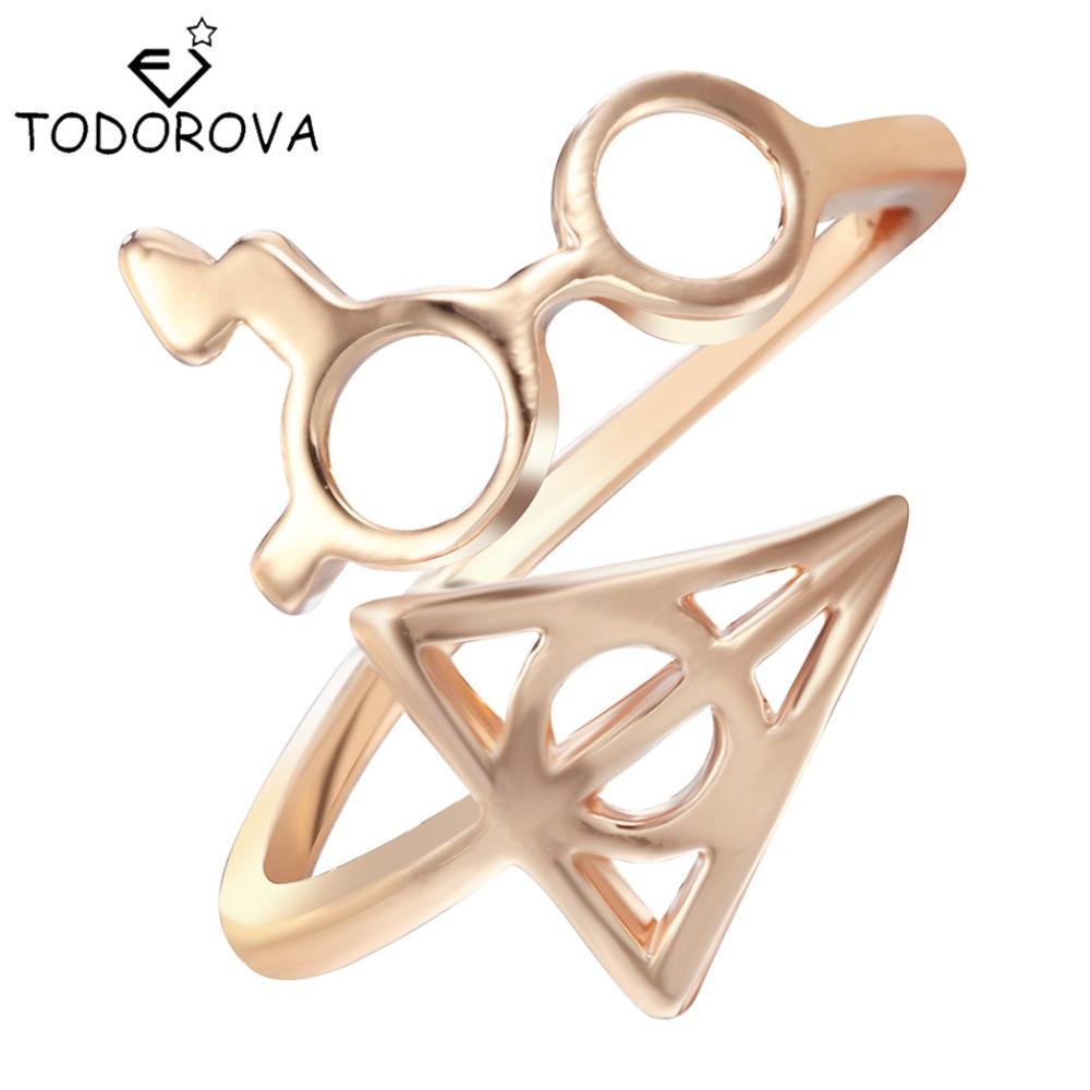 Todorova Wholesale Fashion Rings Female Lightning Scar Glasses Deathly Hallows Rings for Women Girl Christmas Gift
