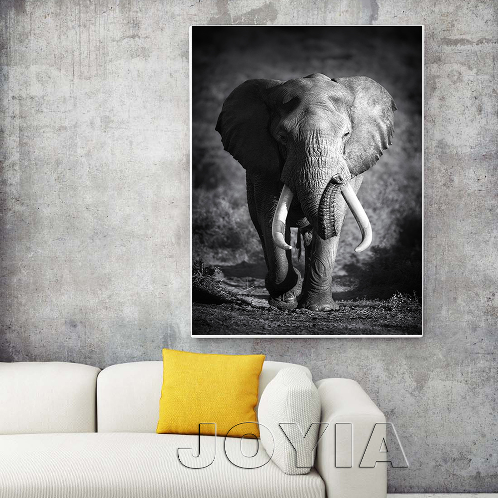 Wall art elephant - Aliexpress Com Buy White Black Animal Canvas Wall Art Elephant Picture Modern Paintings For Home Living Room Bedroom Study Decor Large No Frame From