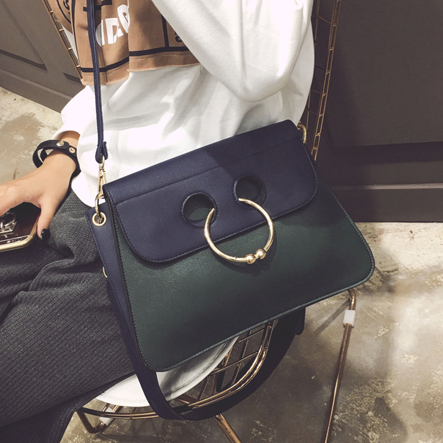 2018 Women Bags Fall Hit The New Color Ring Handbags European And American Fashion Small Square Package Wild Shoulder Bag