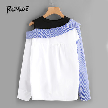 ROMWE Contrast Patchwork Shirt Blouse Women Asymmetric Open Shoulder Sexy Tops Fall  Fashion Striped Casual Dip Hem Shirt 1