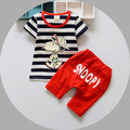 2016 summer fashion sport children clothing sets baby boys stripe cartoon dog clothes sets kids 2pcs outfits tracksuit