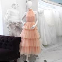 abendkleider 実画像ティアードチュールイブニングフォーマルドレスのドレス流行アラビアフリルチュチュ女性ウエディングドレス高襟パーティードレス