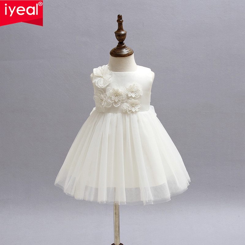 IYEAL Top quality baby girls dress Newborn Christmas dresses Infant Satin Party Flower Girl Christening Gown vestidos de festa girls dress girl top quality dresses 100