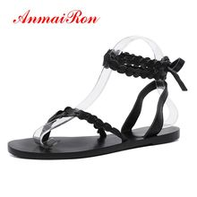 ANMAIRON New Arrival Woman Sandals 2019 Summer Genuine Leather Gladiator Zapatos De Mujer  Shoes Woman Sandals Size 34-39 LY1365 hongyi new arrival punk style rivets sandals women black pink leather gladiator sandals cool ladies shoes woman
