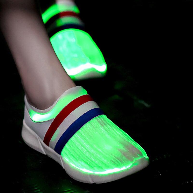 Usb Recharging 7 Colors Flashing Fiber Optic Light Up Shoes Led Luminous Sneakers Glowing Boy Girl Led Slippers Women Running