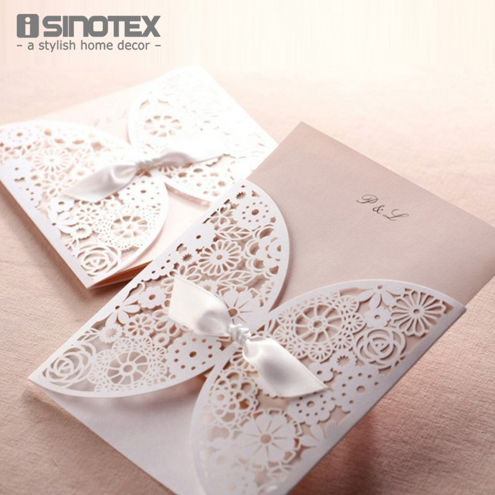 25 Pcs Lot Wholesale Elegant Hollow Laser Cut Wedding Invitations