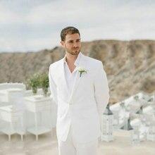 Summer Beach Ivory Linen Mens Wedding Suits 2019 Groom Tuxedos Best Man Blazers 2piece Slim Fit Costume Homme Terno Masculino