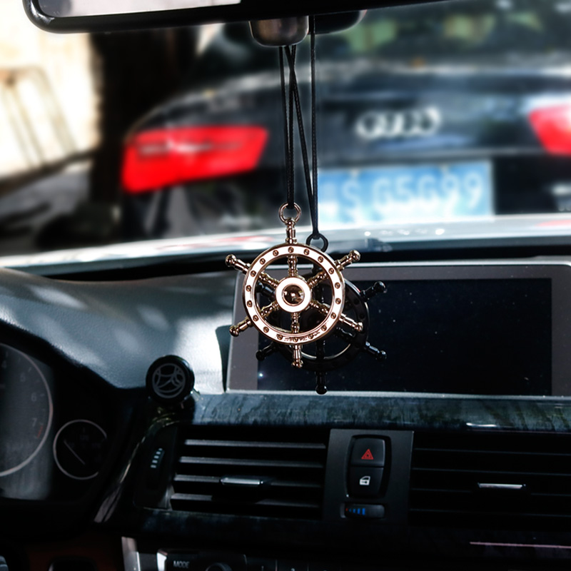 Ciondolo auto Automobili Chrome 3D del Metallo di Zinco Timone Timone Retrovisore Interno Specchietto Appeso Ornamento Decorazione Distintivo Accessori