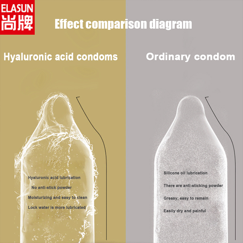ELASUN 4 type condom sex latex Hyaluronic acid condoms for men Ultra thin smooth 3D spike dot G point lubrication condones in Condoms from Beauty Health