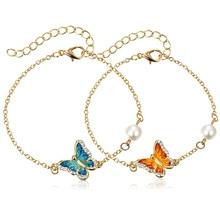 Модный браслет со звеньями, с масляной росписью, Бабочка, очаровательный браслет, имитация жемчуга, свадебные браслеты, Ювелирное Украшение на день рождения