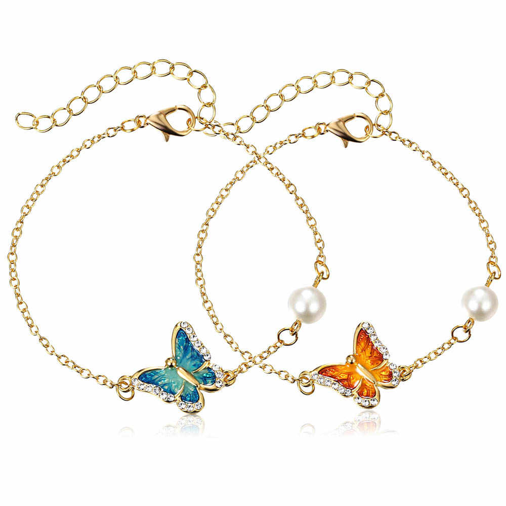 Fashion Link Bracelet with Oil Painted Butterfly Charm Bangles Imitation Pearl Wedding Bridal Bracelets Birthday Jewelry Gift