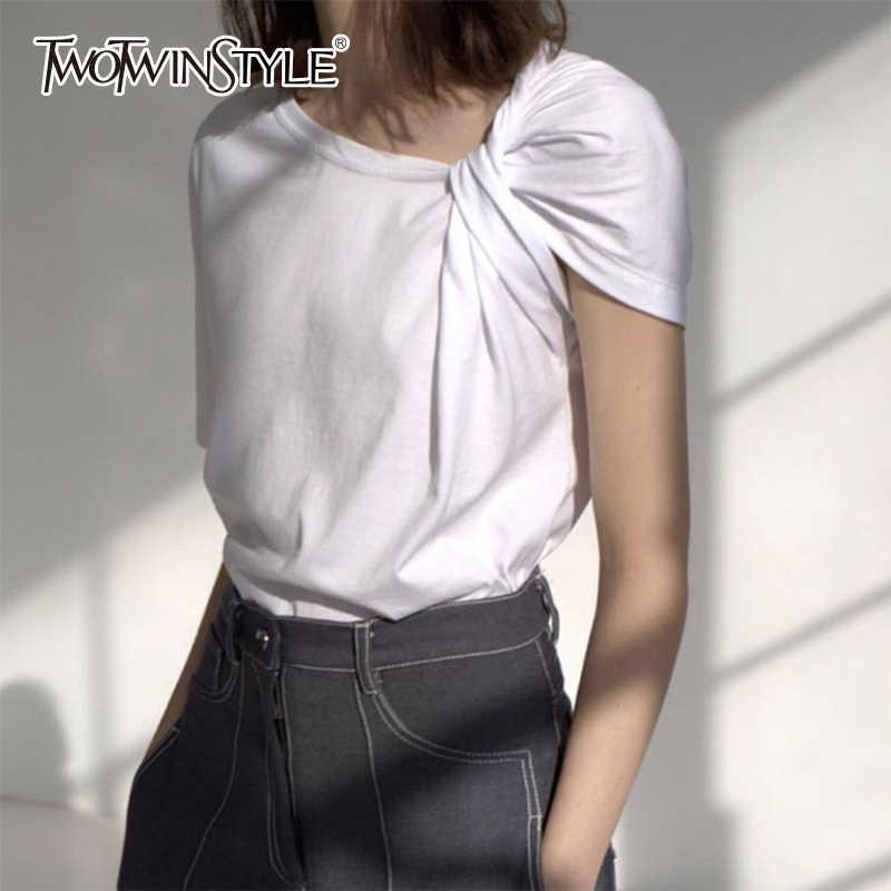 Twotwinstyle ruched básico t camisa para as mulheres de manga curta tamanho grande irregular branco t camisas topo 2019 verão moda nova roupa
