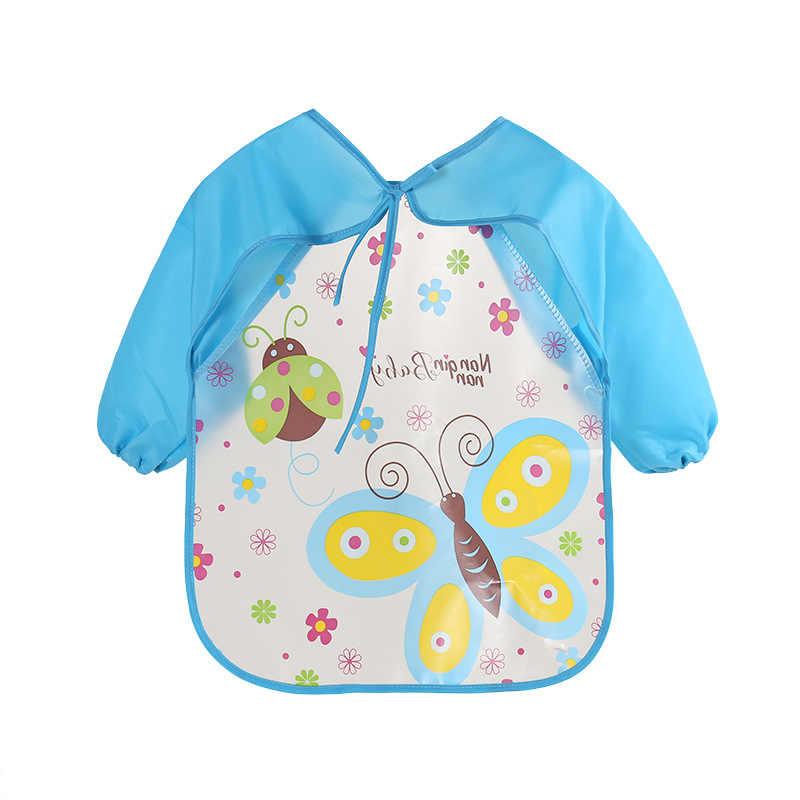 קריקטורה בעלי החיים תינוק ליקוק בגדים עמיד למים ארוך שרוול ילדי סינר תינוק סינר האכלת גיהוק בד דברים
