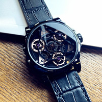 Cool Black Technology Men's Watch Top Brand Luxury Fashion Waterproof Watch Leather Personality Large Dial Quartz Watch Students