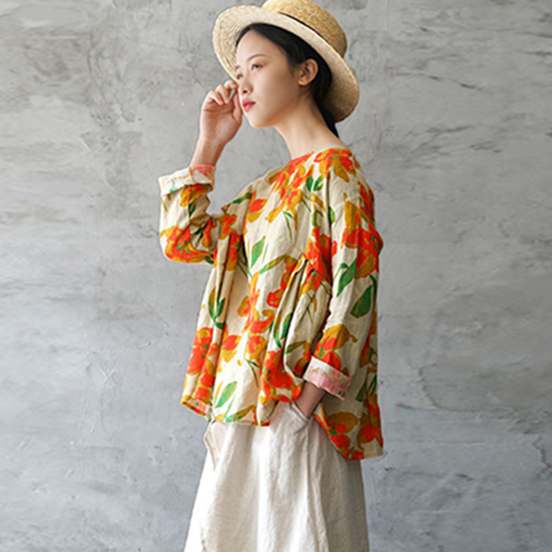 Vintage T neck Sleeve Spring O Women Linen As Irregular Pullover Johnature 2019 Batwing Pleated Picture Tops shirts New Print Loose wx0qFn7zI