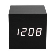 2018 Acoustic Control Alarm Wood cube Clock LED Calendar Creative Thermometer Electronic display Bedroom Student table watch kit(China)