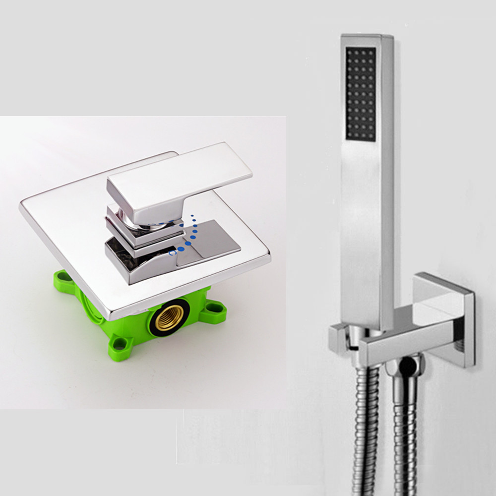 Free shipping Chrome Brass hand Shower Set Faucet Wall Mounted with brass holder and hot cold control shower valve IS125 free shipping high quality bathroom toilet paper holder wall mounted polished chrome