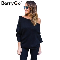 BerryGo Black Off Shoulder Knitted Sweater Women Autumn Elegant Batwing Sleeve Jumper Pull Femme Winter Casual