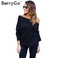 BerryGo Black Off Shoulder Knitted Sweater Women Autumn Elegant Batwing Sleeve Jumper Pull Femme Winter Casual