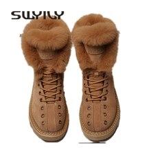 SWYIVY Martin botas Zapatos Mujer piel de conejo cálido felpa 2019 invierno nuevos zapatos femeninos casuales de cuero genuino botas de nieve de Alta Parte superior