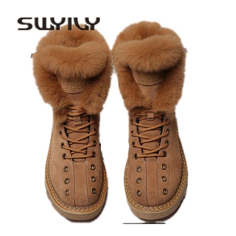 SWYIVY Martin bottes chaussures femme fourrure de lapin chaud en peluche 2018 hiver nouveau femme chaussures décontracté en cuir véritable bottes de neige haut