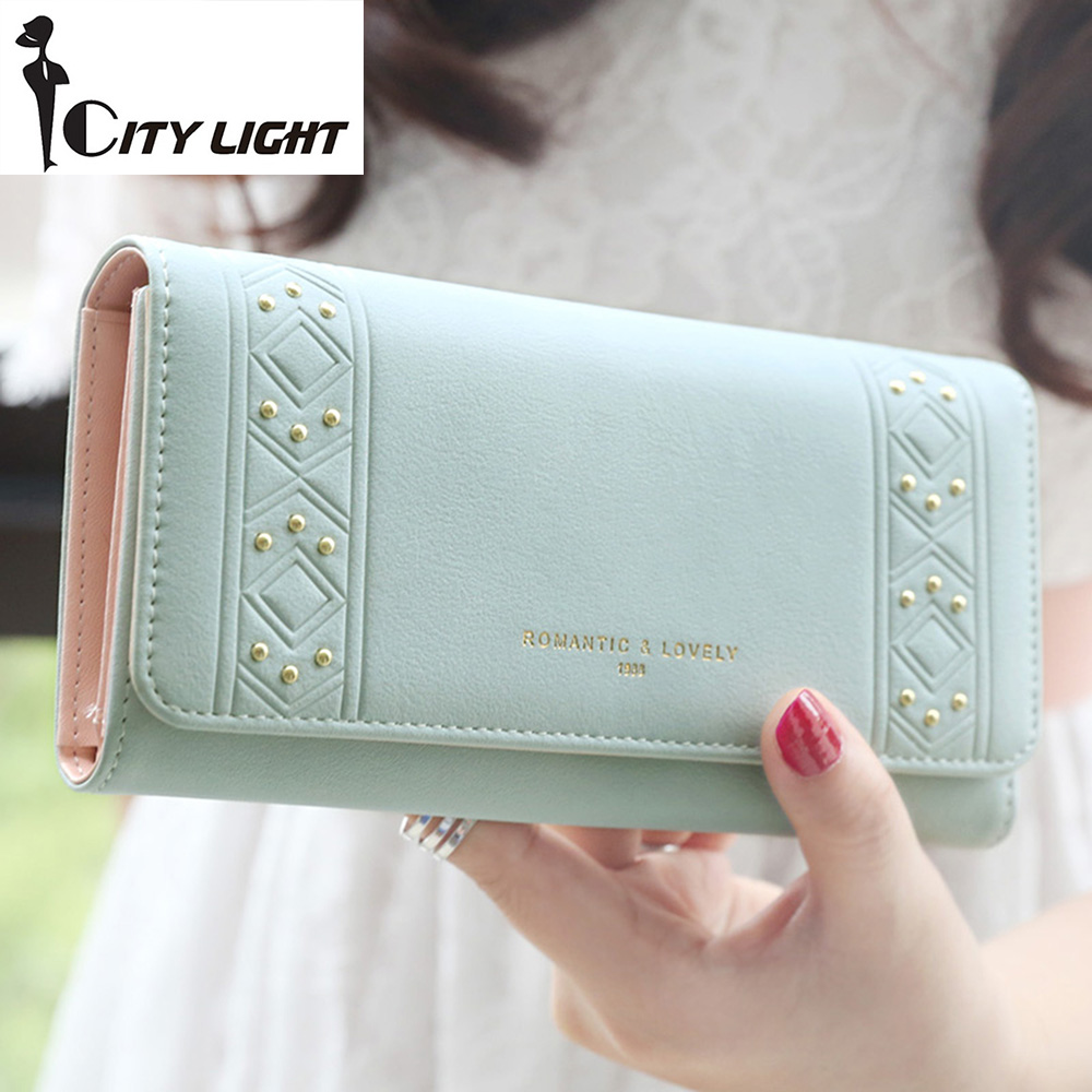 2016 new arrival fashion PU leather three fold women wallets simple  personality rivet lady long design wallet purse memunia  new arrival simple pu leather