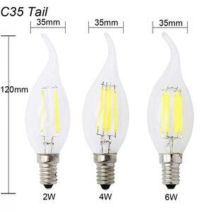 Image 5 - E12 E14 E27 LED bougie ampoule C35 lumière 2 W/4 W/6 W 110 V/220 V blanc chaud/froid rétro lampe à incandescence pour lustre éclairage 360 degrés
