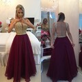 New Arrival A-line Gold Lace Applique Burgundy Prom Dresses Sheer Tulle Floor Length Graduation Dress Custom Made Evening Gown