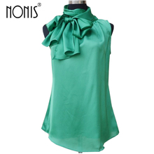 Nonis Women's Blouses Sleeveless Bow Knot Office Work Wear Chiffon Shirts White Pink Red Cool Summer Tops Femme Blusa Plus Size