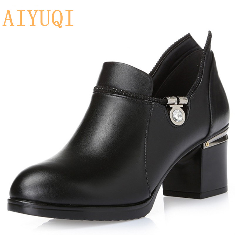 Aiyuqi 2019 New Spring Genuine Leather Female Net Shoes Fashion Breathable Deep Shoes Mesh Comfortable Sandals Female Size34 Heels